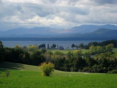 A view of Lake Champlain and the Adirondack Mountains in the distance taken from Shelburne Farms, Shelburne, Vermont