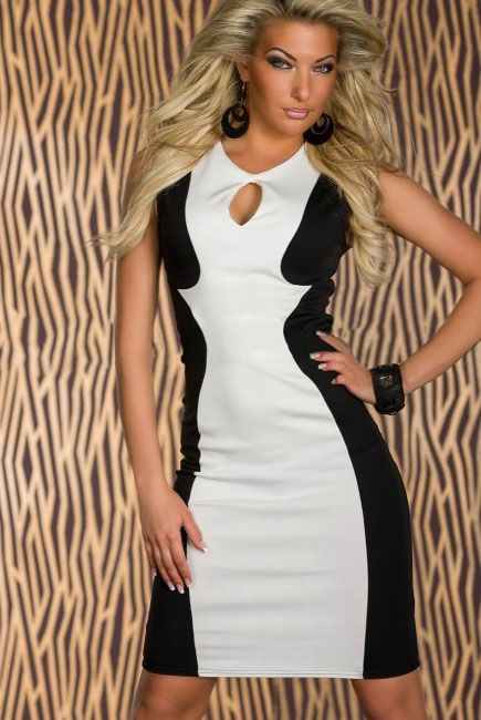 White Panel Midi Dress with Cut-out