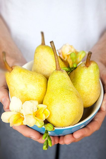 'Perfect Pearing' ..  fresh pears nestled with fragrant freesia blooms as a garnish