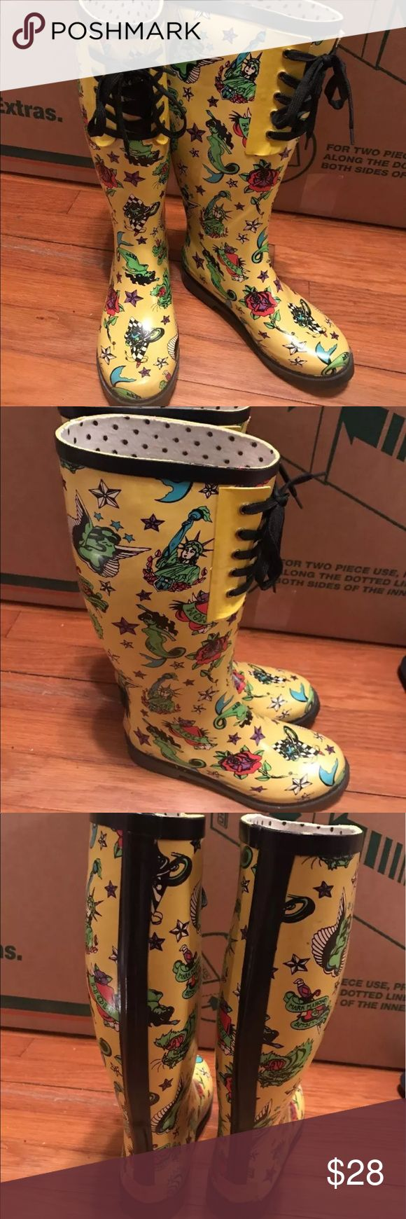 Betsey Johnson tattoo yellow rain boots lace up 7 Size 7 - overall good condition- has scruffs on the back of the shoe as shown in pictures- size 7 Betsey Johnson Shoes Winter & Rain Boots
