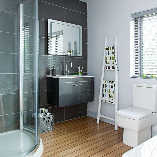 Modern charcoal and white bathroom   Bathroom decorating   Ideal Home   Housetohome.co.uk