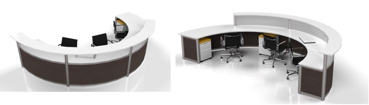 Curved Reception desk with contrast finish (black & white) - different finishes available - such as Summer Flame, Heritage Maple and Stainless etc.  A wide range of storage available
