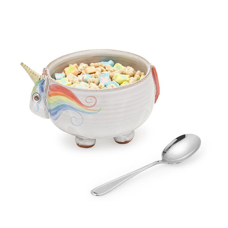 what a better way to eat one of my favorite foods. elwood the unicorn cereal bowl | uncommon goods