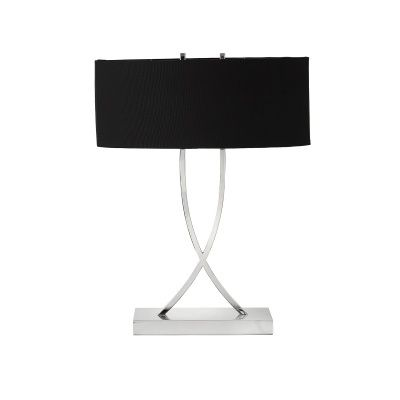 """B231L-SN - Shiny Nickel Crossover Curved Table Lamp with Oval 3"""" Squared Off Corners Shade"""