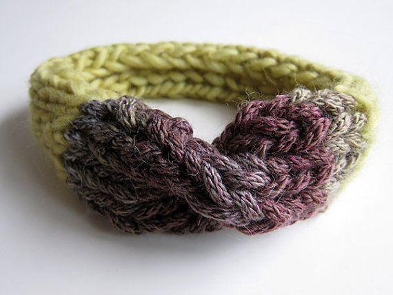 Hand Knitted Headband. Pure Wool. Lemon green taupe by OkBee