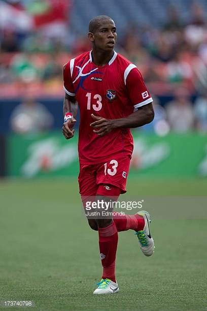 Jean Carlos Cedeno of Panama in action against Canada during the first half of a CONCACAF Gold Cup match at Sports Authority Field at Mile High on...