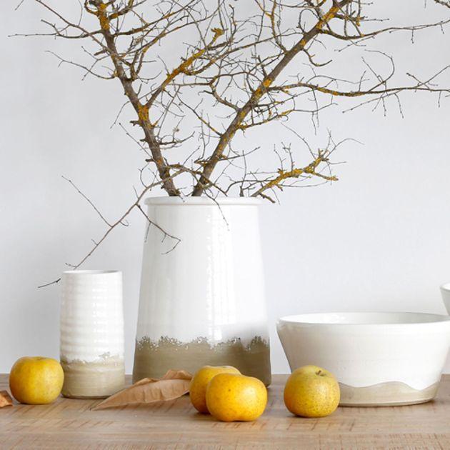 Vase en terre cuite bicolore naturel et blanc Athezza