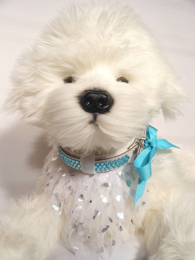 PAGE BOY $15.00 bandana only, 5 layers of white tulle fringe with silver hearts. 3 white velvet keepers to slide onto a 20 ml collar.