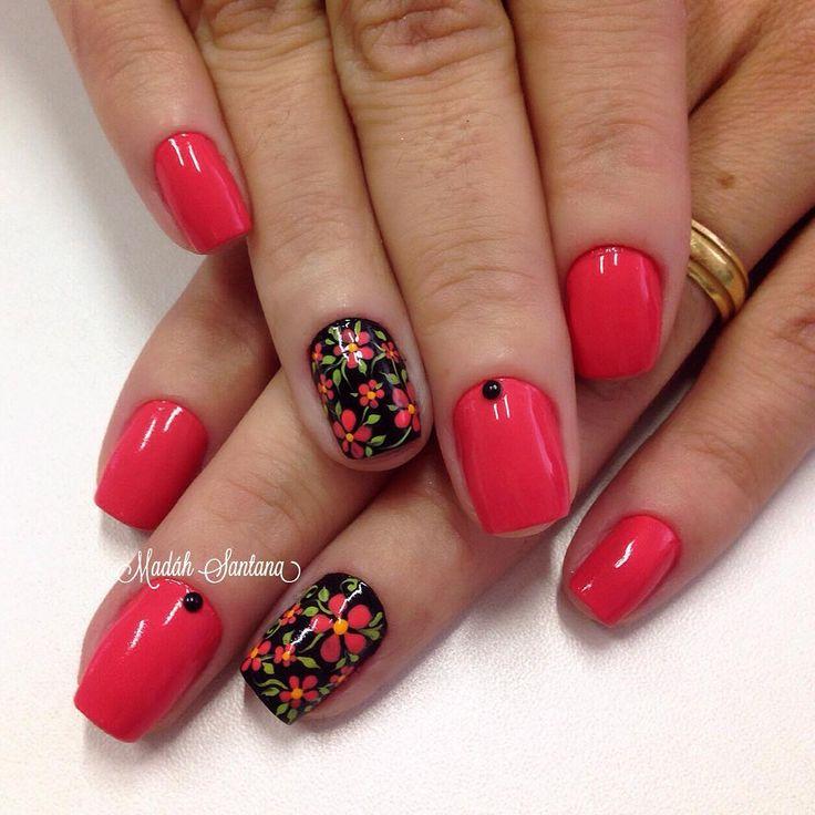 By Madáh Santana Nail Art  в Instagram: «Nails #coral #filha #única #florzinha #madahsantana #manicure #nailartes #naoéadesivo #tudofeitoamaolivre #traçolivre ❤️»