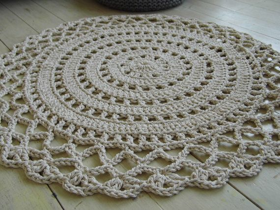 Crocheting Rope : Crochet Rope Giant Doily Rug 100 Cotton by ELITAI on Etsy, $120.00
