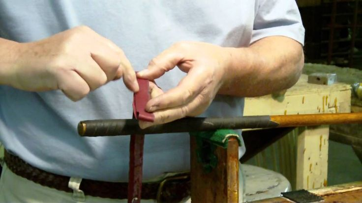 Workshop - How to apply a leather wrap grip to a Hickory-shafted golf club.