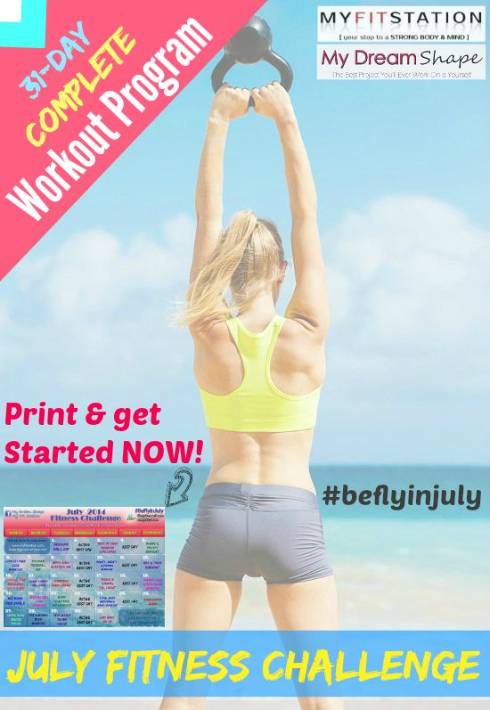 July Fitness Challenge #beflyinjuly (Grab & Print your Free 31-day July Workout Calendar via www.myfitstation.com) @myfitstation #fitness #workout