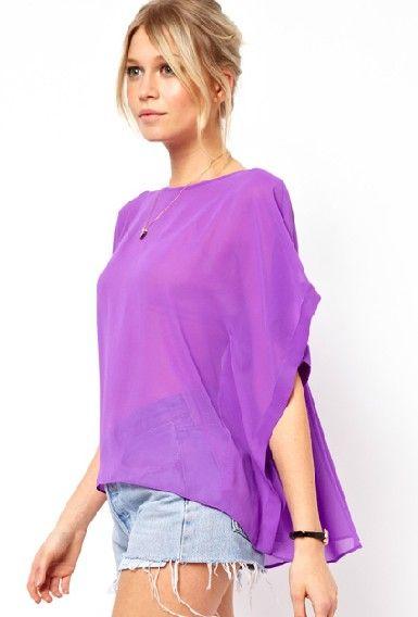 Purple Batwing Sleeve Cape Chiffon Blouse