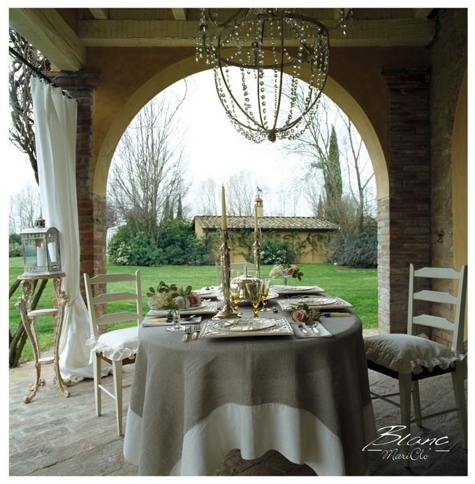 shabby and chic veranda, table string under the patio: