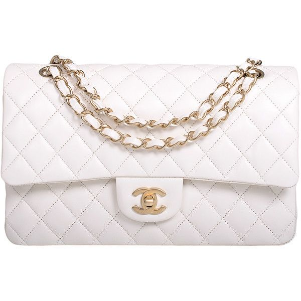 Pre-Owned Chanel White Quilted Lambskin Large Classic Double Flap Bag... found on Polyvore