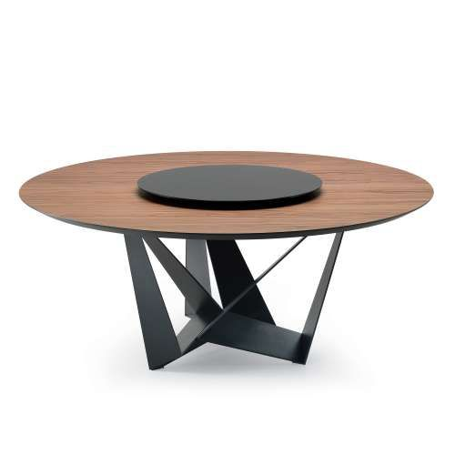 cattelan italia skorpio round wood table solid top can come in burnt oak base steel