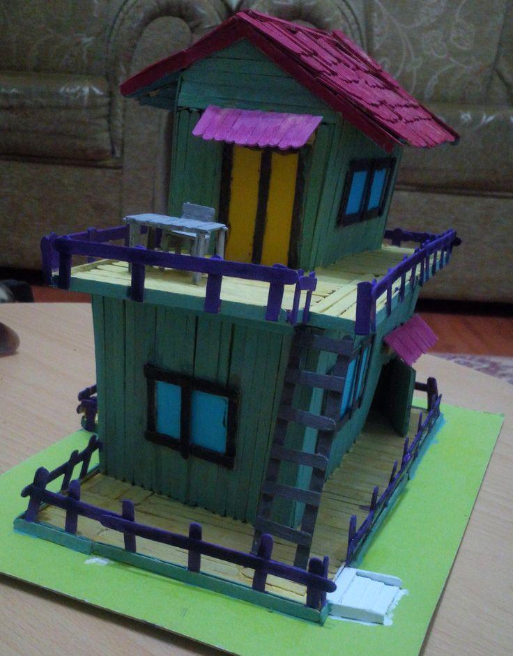 Tahta Çubuklardan Maket Ev Yapımı - 7  2016