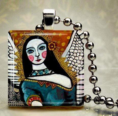 Angel Pendant Jewelry Mexican Necklace Folk by HeatherGallerArt, $28.00