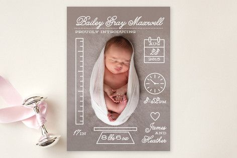 Petite Measurements birth announcements by Shari Margolin (via Minted).