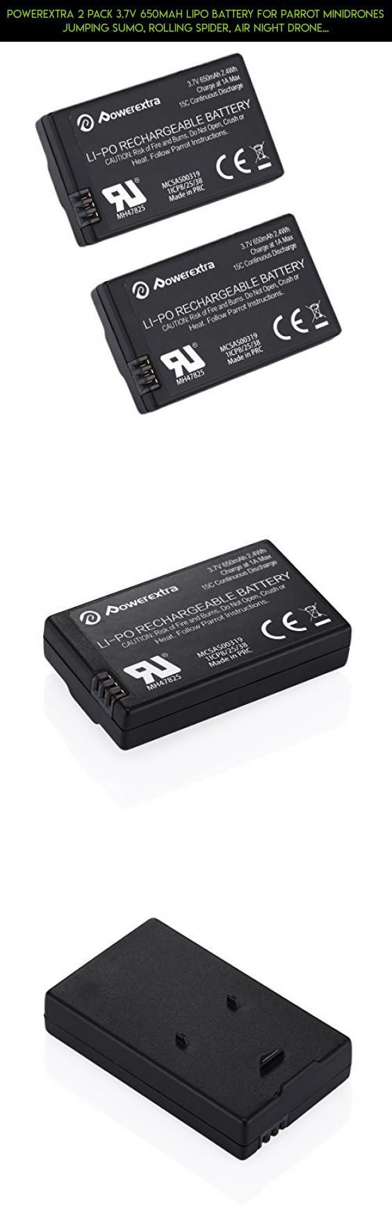 Powerextra 2 Pack 3.7V 650mAh LiPo Battery for Parrot MiniDrones Jumping Sumo, Rolling Spider, Air Night Drone, Airborne Cargo Drone, Jumping Race Drone, Night Hydrofoil Drone - Upgrade #gadgets #tech #fpv #technology #mini #parrot #kit #camera #drone #racing #shopping #products #drone #battery #parts #plans