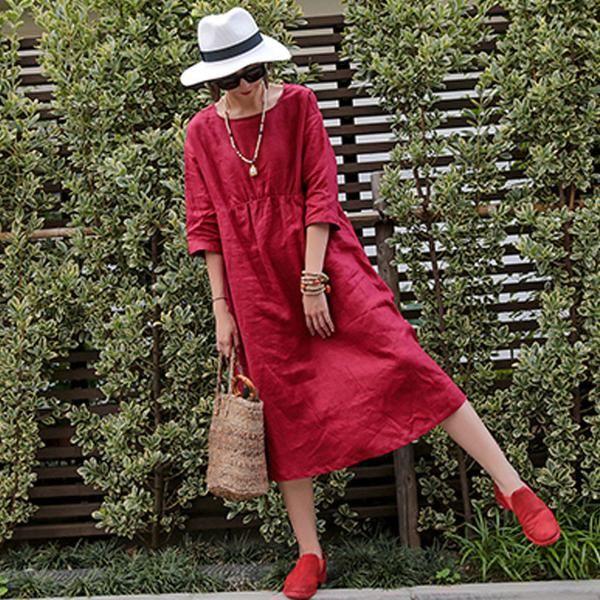 Linen Summer Women Loose Casual Folded Short Sleeves Red Dress