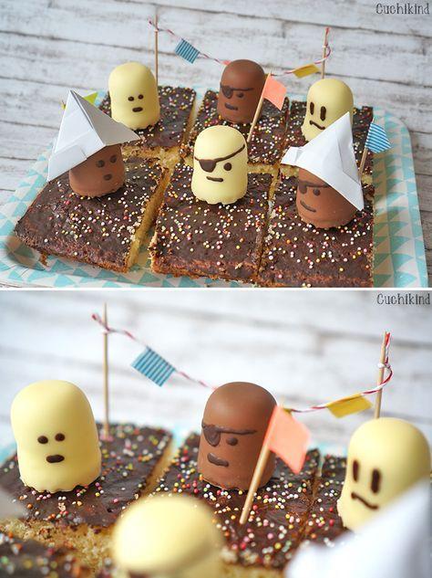 Yummy: Piratencake voor de kleuterschool gemaakt van chocoladekussen. Ook voor het kind …  – Geburtstag