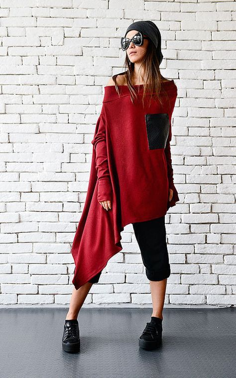 Red Maxi Top/Oversize Asymmetric Tunic/Fallen Sleeve Top/Warm Red Sweater/Long Sleeve Top/Plus Size Blouse/Sexy Red Top/Leather Pocket