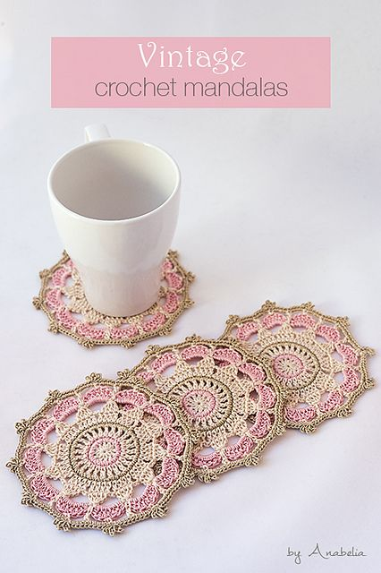 Vintage inspired crochet mandalas, suitable as coasters, a stylish touch on your table. They are also perfect as a gift.