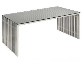 Amici Coffee Table 54x28 SKU: HGDJ196 $899 Brushed Stainless Steel Frame Coffee  Table With Acrylic