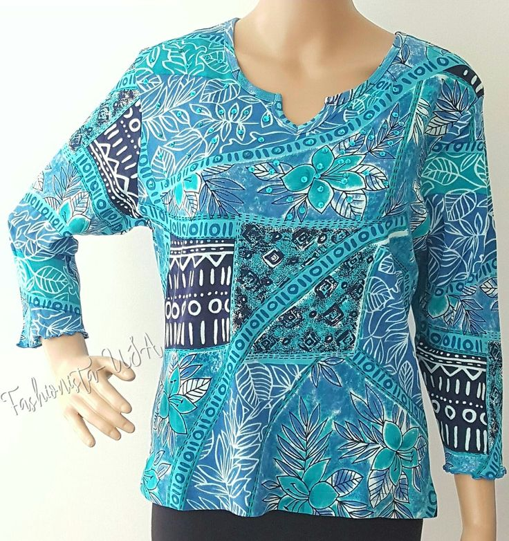 ZASHI Women's Top Size M Sleeve-3/4 Printed w/Blue Sequin & Beads Pull Over  #ZASHI #PULLOVER #Casual