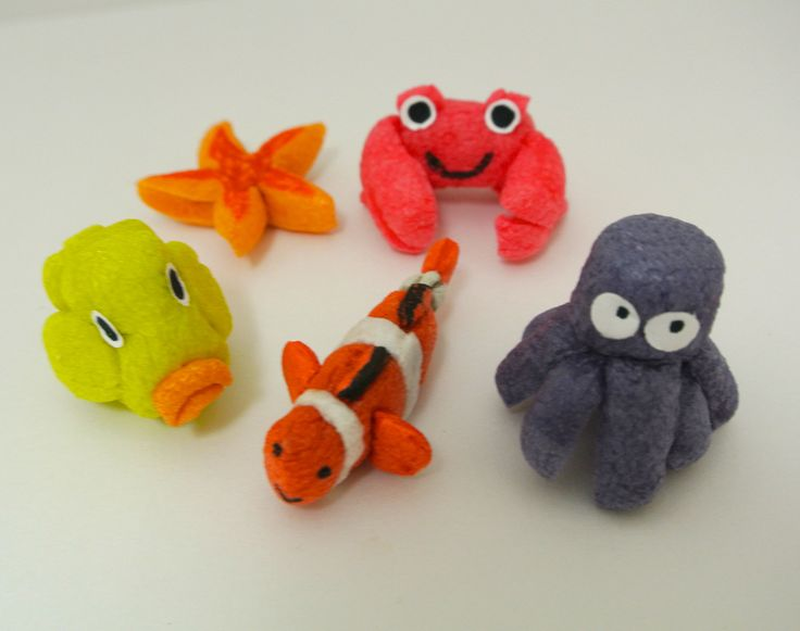 Sea creatures made with Magic Nuudles the perfect craft for an under the sea birthday party activity!