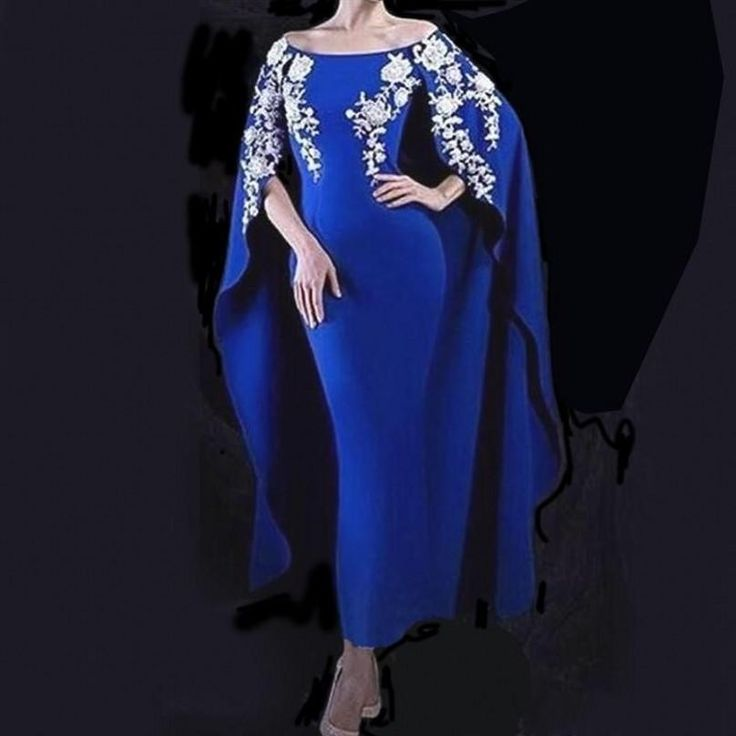 Evening Dresses Morrocan Kaftan Formal Evening Gown Royal Blue Satin Applique Elegant Evening Dress Long Arabian Prom Dress