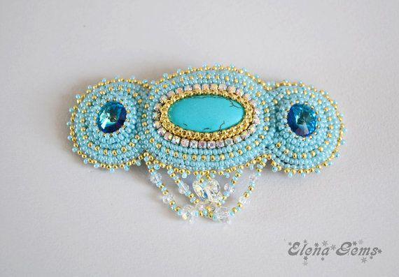 Bead embroidery barrette Bead jewelry Handmade by ElenaGems