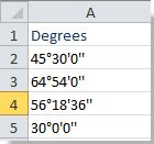 How to convert decimal degrees to degrees minutes seconds in Excel?