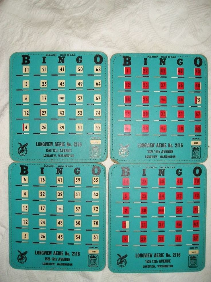 4 Vintage PLA-MOR BINGO KING Slider BINGO CARDS  FOE Eagles Aerie Longview WA