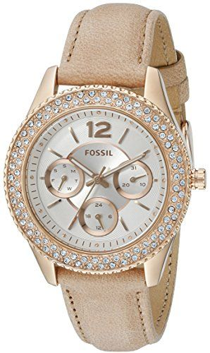 Fossil Women's ES3816 Stella Multifunction Leather Watch - Light Brown - http://www.darrenblogs.com/2016/12/fossil-womens-es3816-stella-multifunction-leather-watch-light-brown/