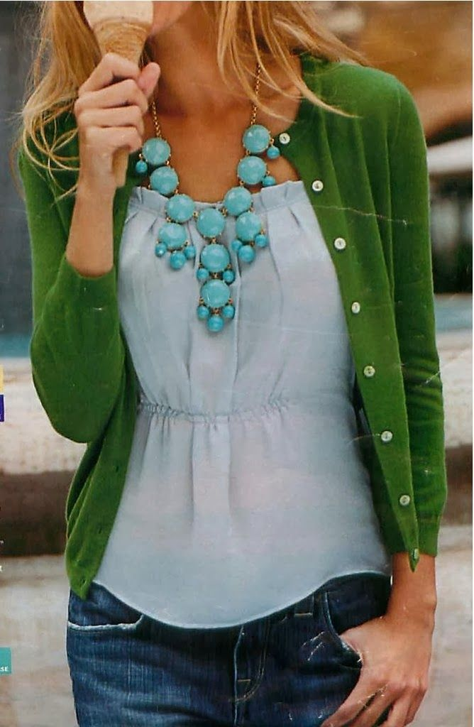 Plain Green Cardigan With Mint Pearl Necklace