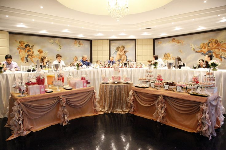 Dessert Buffet and Candy Station styled by Soiree Productions. Table Linen exclusive to Soiree Productions