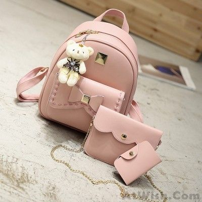 Lovely Bear Pendant PU School Backpacks Gray Pink Splicing Bowknot School Bag