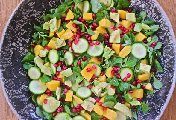 Monday Mango, Avocado and Pomegranate Salad with the BEST Mango Chilli Dressing
