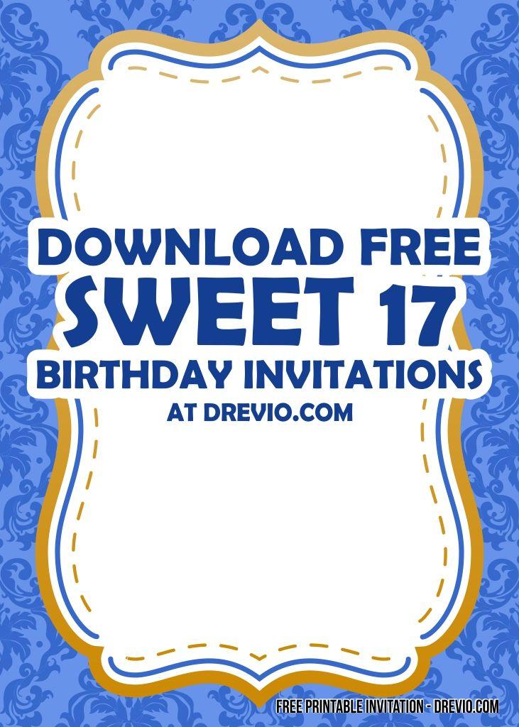Free Printable Sweet 17th Birthday Invitation Templates Free Printable Birthday Invitations Party Invite Template Birthday Invitation Templates