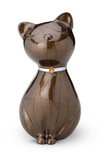 Bruine Urn in de vorm van een kat.