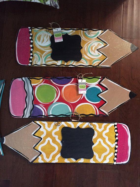 Pencil door hanger / Teacher door hanger / by JustDotsCo on Etsy