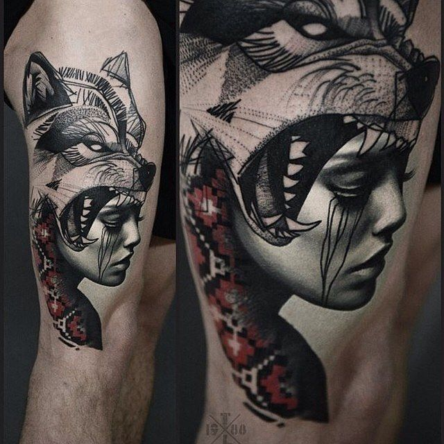 indian girl wolf tattoo - Google-Suche                                                                                                                                                                                 More