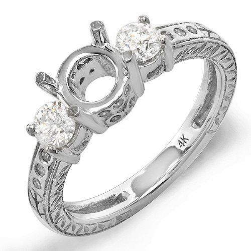 Engagement Rings No Stone: 0.55 Carat (Ctw) 14k White Gold Brilliant Round Diamond 3