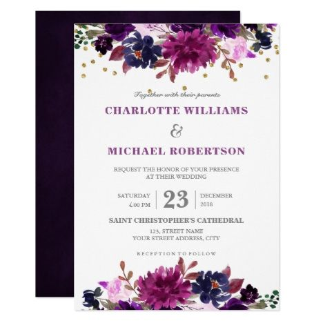 Watercolor Burgundy Purple plum lavender Floral Rustic Boho Wedding invitation c…