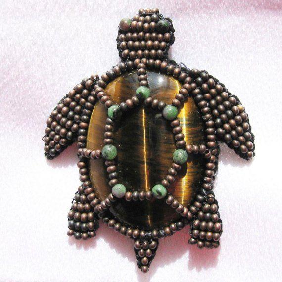 Beaded Sea Turtle around Tigereye.