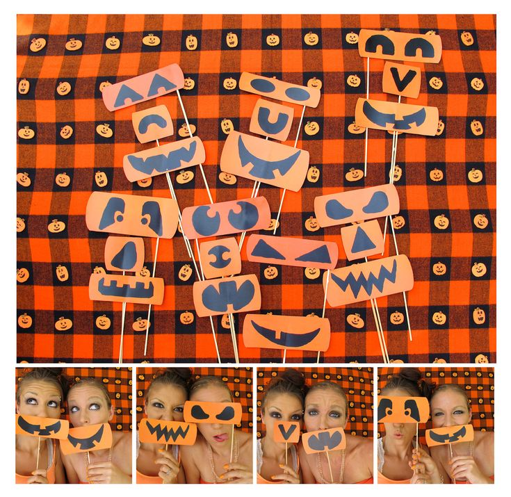 the different kind of Halloween photo booth props - pumpkin eyes, noses and mouths - let's be pumpkins.