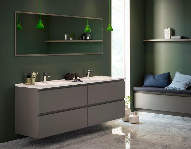 Nå leveres Vedums baderomsserie Flow også i farger. I nedtonet grønt og betonggrått skapes et moderne baderom med en touch av industristil. – Trendig og...