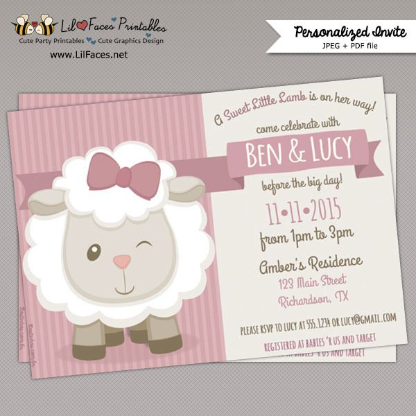 Cute Little Lamb Baby Shower Printable Invitation                                                                                                                                                                                 More